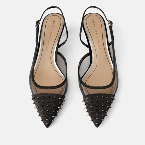 3d7363ed83 Studded mesh slingback heels